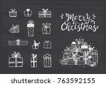 merry christmas. holiday vector ... | Shutterstock .eps vector #763592155