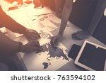 businessman discussing ... | Shutterstock . vector #763594102