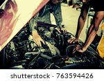 technician working on checking... | Shutterstock . vector #763594426