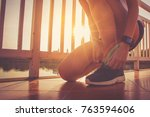 healthy woman doing exercises... | Shutterstock . vector #763594606