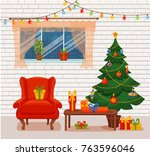 christmas room interior in... | Shutterstock .eps vector #763596046