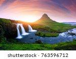 picturesque icelandic landscape ... | Shutterstock . vector #763596712
