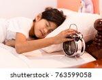 seven years old little asian... | Shutterstock . vector #763599058