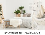 white furry rug placed on...   Shutterstock . vector #763602775