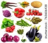 a background of fresh vegetables | Shutterstock . vector #763606438