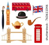london  england set   big ben ... | Shutterstock .eps vector #763611046
