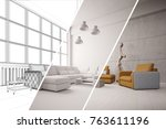 apartment room planner with cad ... | Shutterstock . vector #763611196
