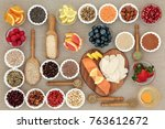 super food for healthy dieting... | Shutterstock . vector #763612672