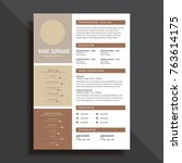 professional and simple resume... | Shutterstock .eps vector #763614175