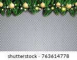 fir branch with neon lights and ... | Shutterstock .eps vector #763614778