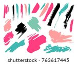 grunge brush stroke set | Shutterstock .eps vector #763617445