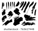 grunge brush stroke set | Shutterstock .eps vector #763617448