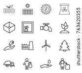 thin line icon set   bio  sun... | Shutterstock .eps vector #763620355