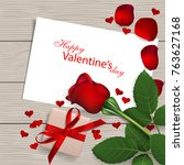 red rose with gift box on... | Shutterstock .eps vector #763627168