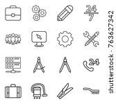 thin line icon set   portfolio  ... | Shutterstock .eps vector #763627342