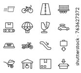 thin line icon set   delivery ... | Shutterstock .eps vector #763627372
