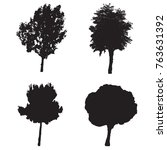 four silhouette trees vector... | Shutterstock .eps vector #763631392