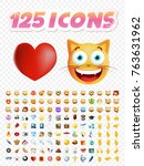set of realistic cute icons on... | Shutterstock .eps vector #763631962