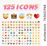 set of realistic cute icons on... | Shutterstock .eps vector #763631968
