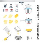 cooking and preparation icons.... | Shutterstock .eps vector #763635355
