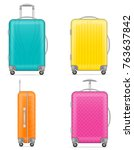 plastic travel bag vector... | Shutterstock .eps vector #763637842