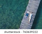 happy tourist on the beach ... | Shutterstock . vector #763639222