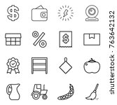 thin line icon set   dollar ... | Shutterstock .eps vector #763642132