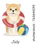Shiba Inu Dogs Calendar. July...