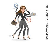 businesswoman in a rush with... | Shutterstock .eps vector #763645102