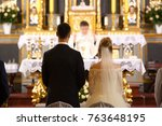 priest celebrate wedding mass... | Shutterstock . vector #763648195
