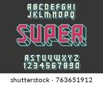 geometric font 3d effect design ... | Shutterstock .eps vector #763651912