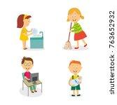 vecotr flat kids doing... | Shutterstock .eps vector #763652932