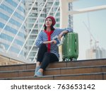 young girl tourist travel in... | Shutterstock . vector #763653142