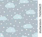 sky with clouds and stars.... | Shutterstock .eps vector #763656625