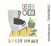 home sweet home. colored vector ... | Shutterstock .eps vector #763658812