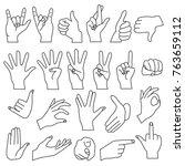 realistic shape hand gestures... | Shutterstock .eps vector #763659112