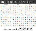 180 modern flat icons set of... | Shutterstock .eps vector #763659115