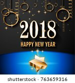 2018 happy new year background... | Shutterstock .eps vector #763659316