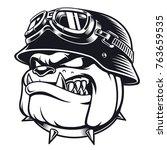vector face of bulldog biker... | Shutterstock .eps vector #763659535