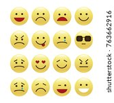 set of smile icons. emoji.... | Shutterstock .eps vector #763662916