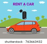 rent car concept. vector... | Shutterstock .eps vector #763663432