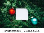 branches of a christmas tree... | Shutterstock . vector #763665616