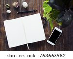 blank page of open notebook and ... | Shutterstock . vector #763668982