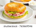 bagel sandwich with ham  cheese ... | Shutterstock . vector #763669546