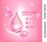 collagen serum skin care... | Shutterstock .eps vector #763673425