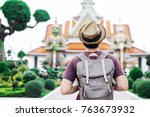 young asian traveling... | Shutterstock . vector #763673932