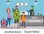 cartoon family of tourists with ... | Shutterstock .eps vector #763675852