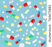 vector pills and capsules in... | Shutterstock .eps vector #763675882