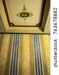 Small photo of Ajaccio, 01/09/2017: ceiling and wallpaper of the Galerie, great room for the guests, in the Maison Bonaparte, home of the Bonaparte family and birthplace of Napoleon, historical monument since 1967