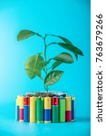 Small photo of Recycling and disposal of alkaline batteries. The concept of energy friendly to the environment and ecology